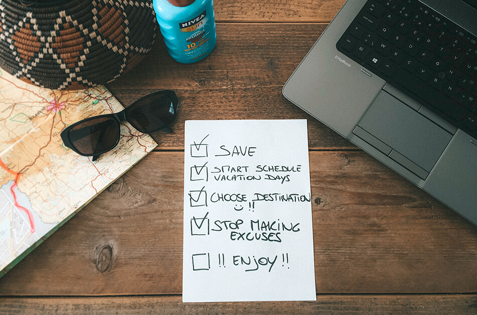 Checklist to travel while working a full time job