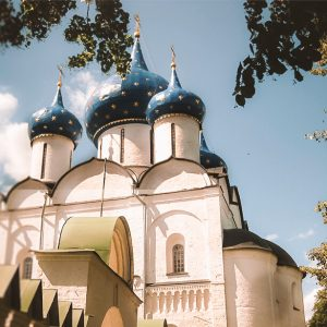 The blue and golden starred domes of the Kremlin in Suzdal, one of the ancient Russian capitals in the Golden Ring