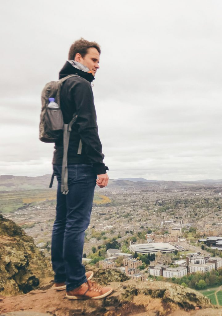 Kristof enjoying the view over Edinburgh at the top of Arthurs Seat