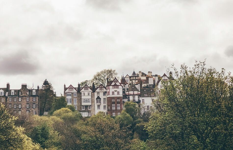Beautiful residential buildings alongside Princess Street Garden