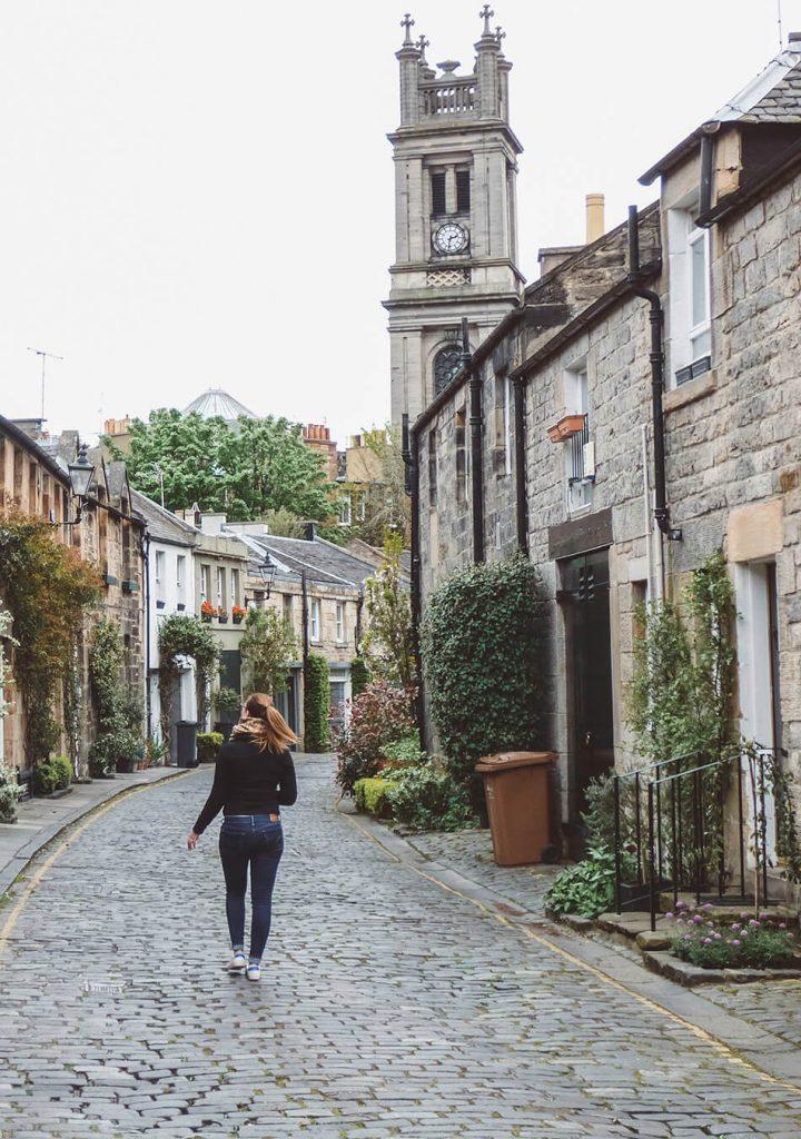 Strolling along Circus Lane in Edinburgh