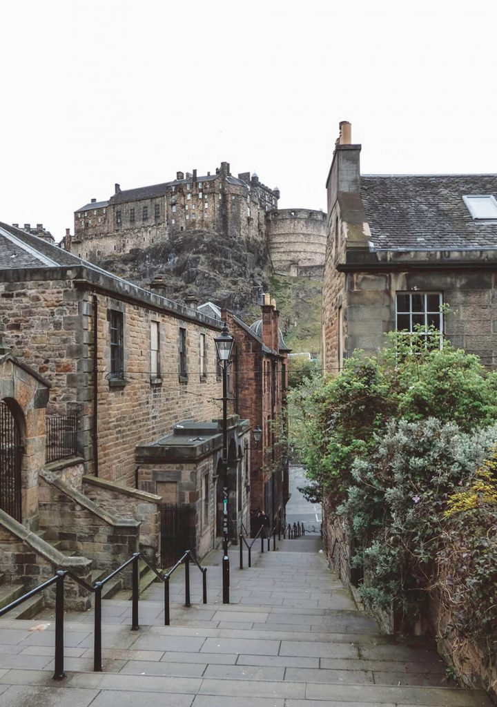 View of Edinburgh Castle from one of the Grass Market sidestreets