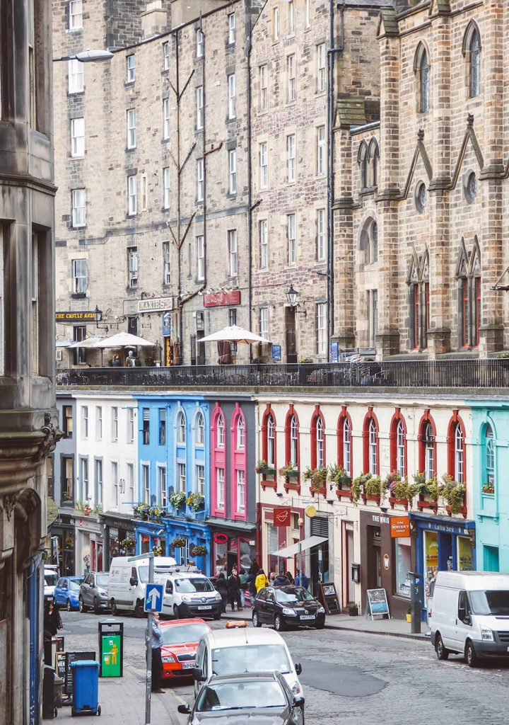 Colourfull houses in Victoria Street, Edinburgh