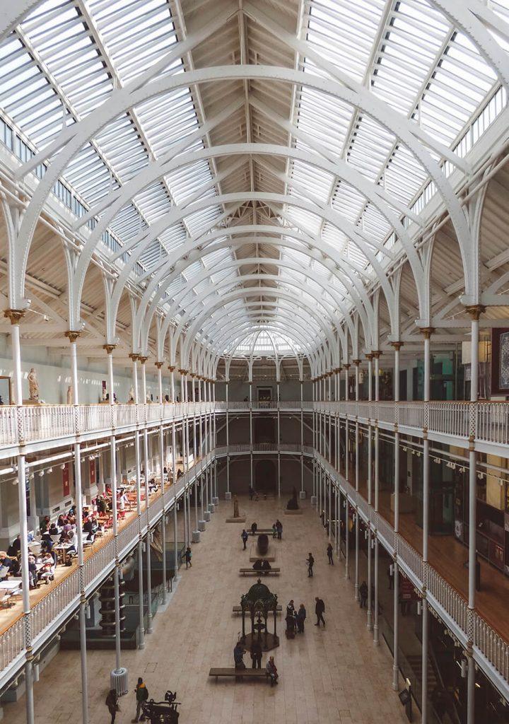 The iron cast interior of the National Museum of Scotland in Edinburgh