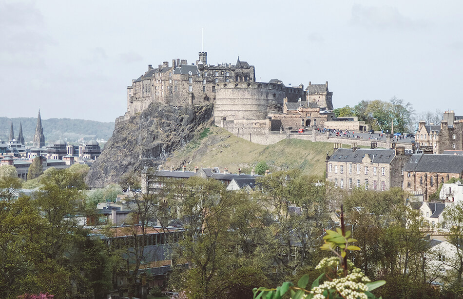 Epic views over Edinburgh Castle from the Scotland National Museum, a stop along our free self-guided walking tour