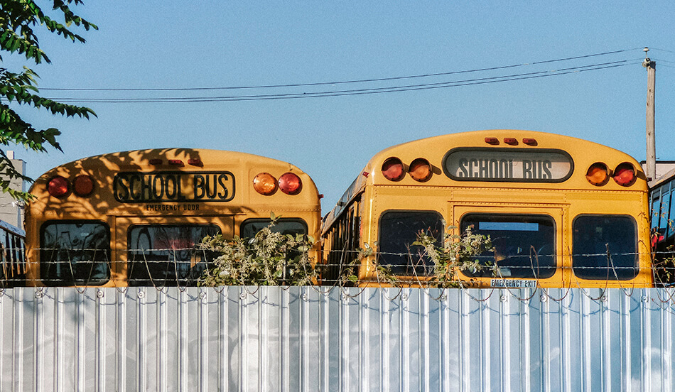 School busses parked in Red Hook, Brooklyn