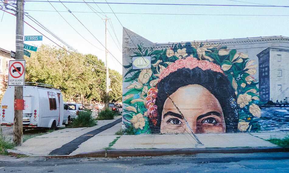Colourful murals in Red Hook, Brooklyn, NYC