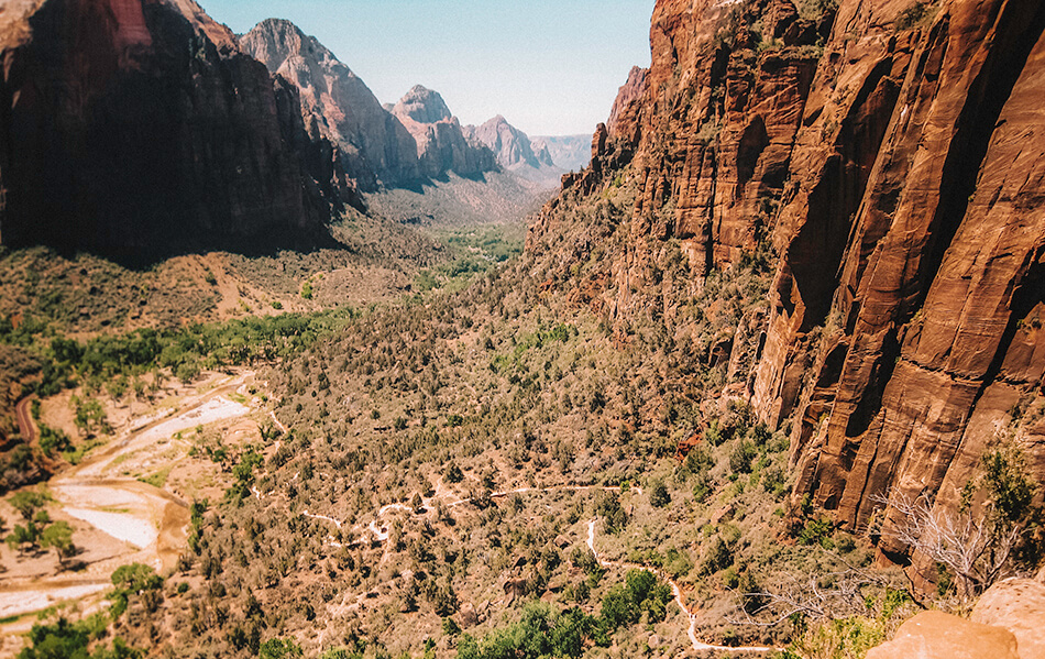 Hiking switchbacks to Angels Landing
