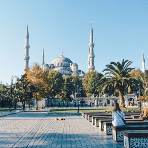 Gawking at the Blue Mosque in Istanbul