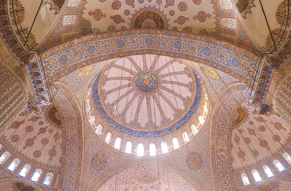 Intricate blue tiles inside the Blue Mosque