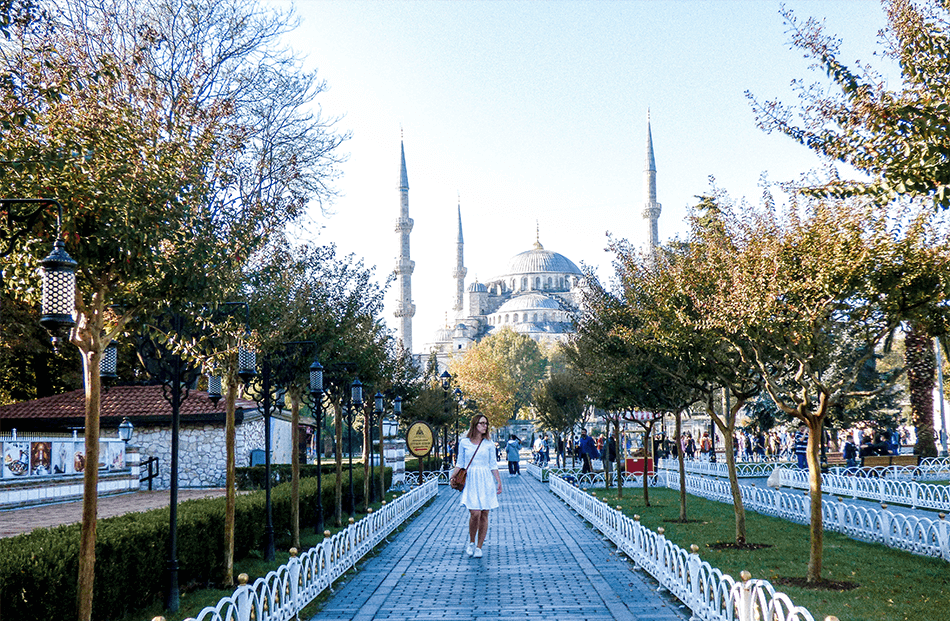 Strolling before the Blue Mosque in Istanbul, Turkey