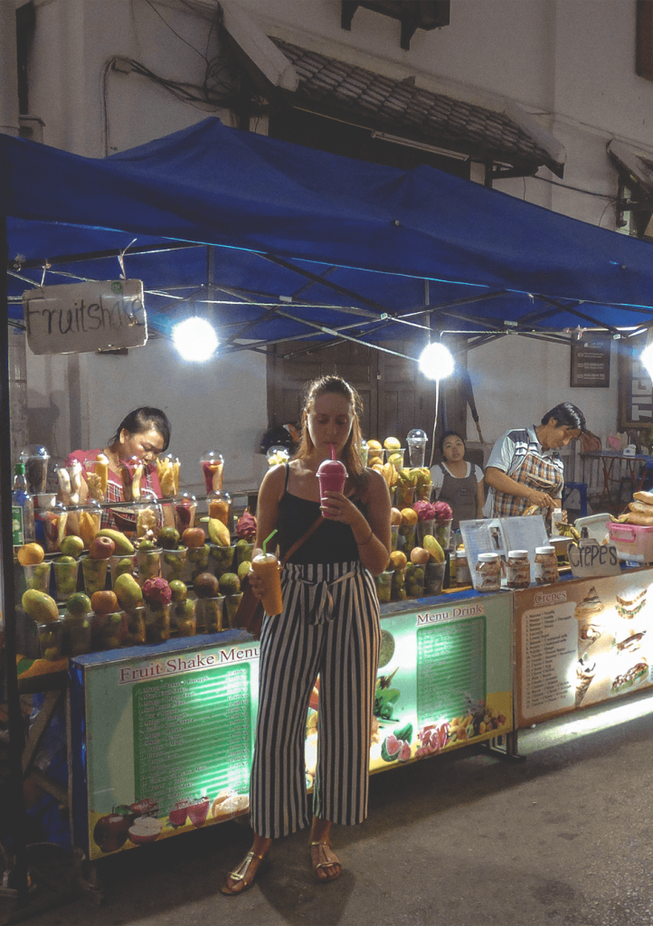 Fresh smoothies at the Night Market in Luang Prabang, Laos