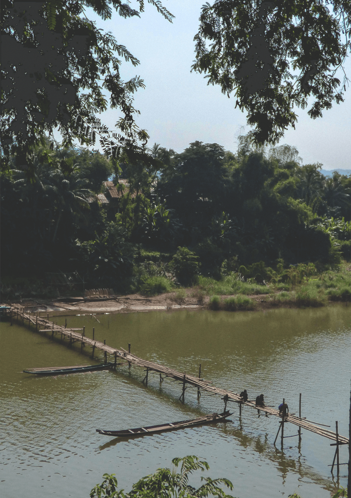 Seasonal bridges to cross the Sam Song river in Luang Prabang