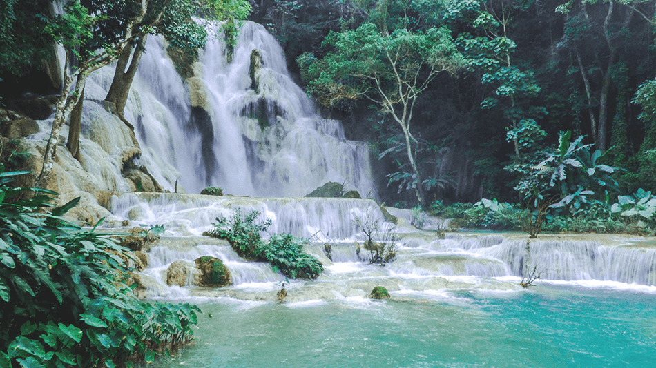 Cristal blue waters of Kuang Si Falls near Luang Prabang, Laos