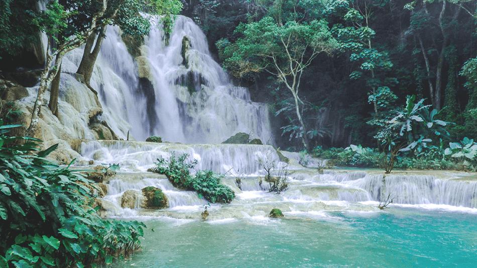 Cristal blue waters of Kuang Si Falls near Luang Prabang, Laos
