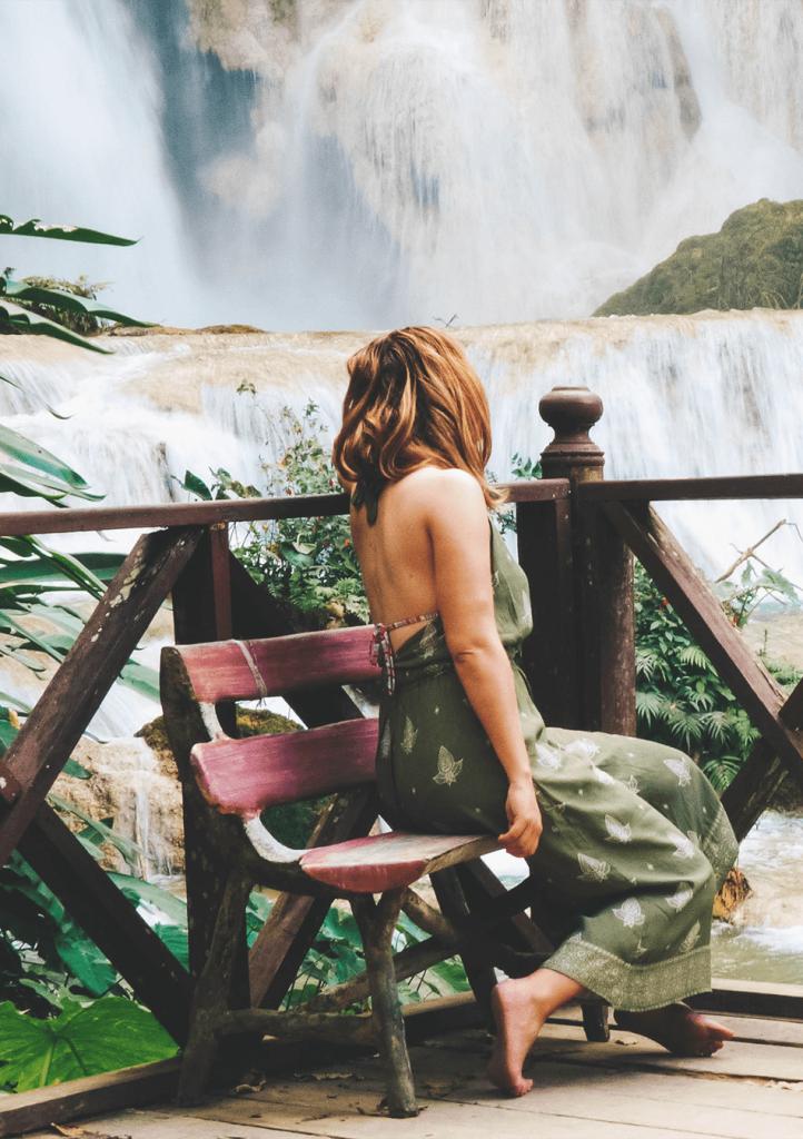 Gawking at the cristal blue waters of Kuang Si Falls near Luang Prabang, Laos