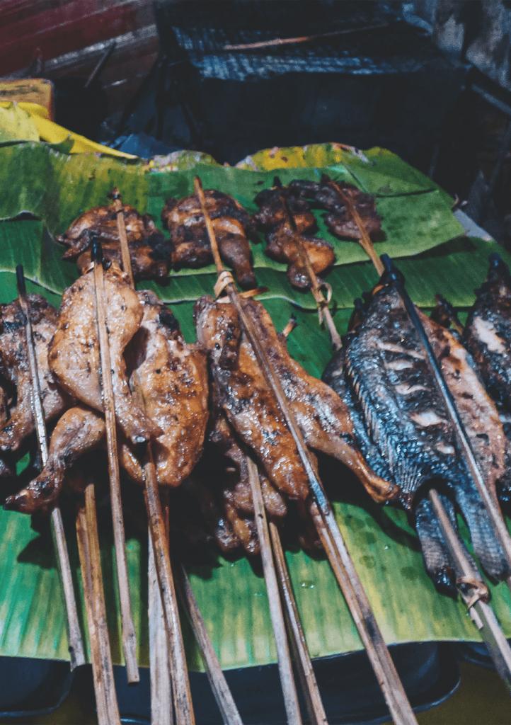 Night market streetfood in Luang Prabang, Laos