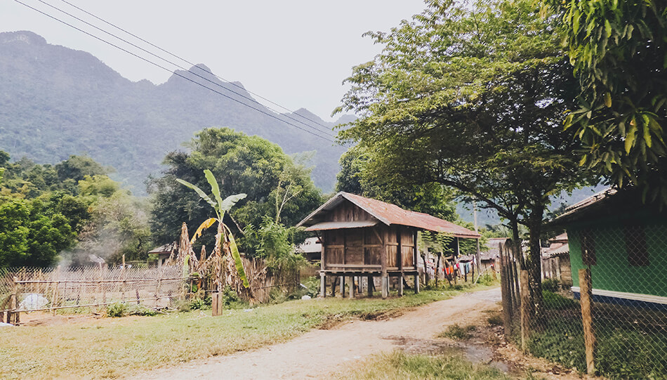 Local village in Vang Vieng