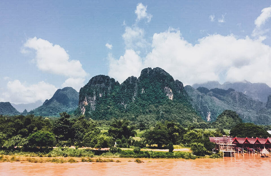 Beautiful limestone cliffs in Vang Vieng