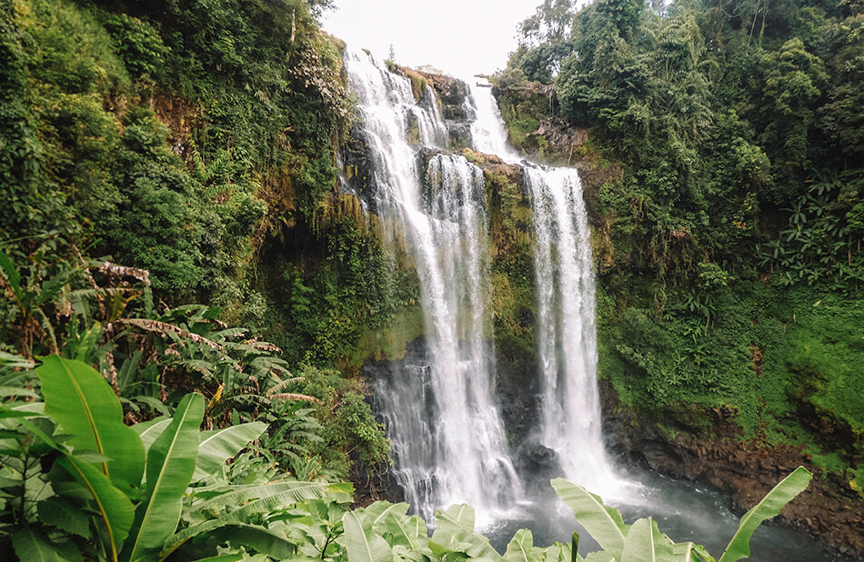 View of the gorgeous Tad Yuang Falls while drive the small Bolaven Plateau Loop