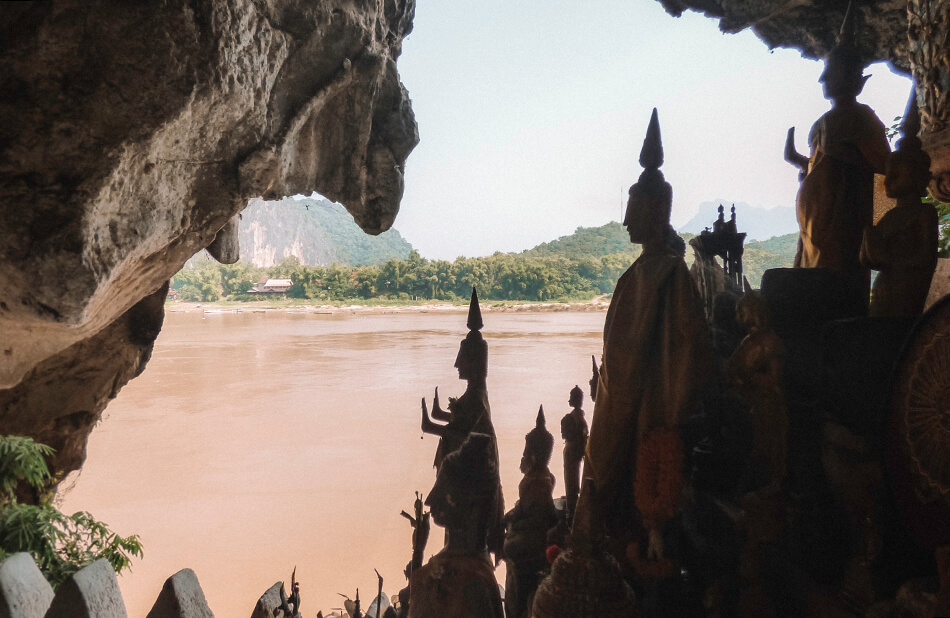 View over the Mekong river from inside the Pak ou Caves in Luang Prabang