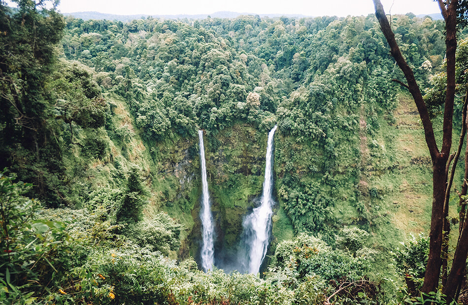The double streams of Tad Fane, the highest waterfalls of Laos at the Bolaven Plateau