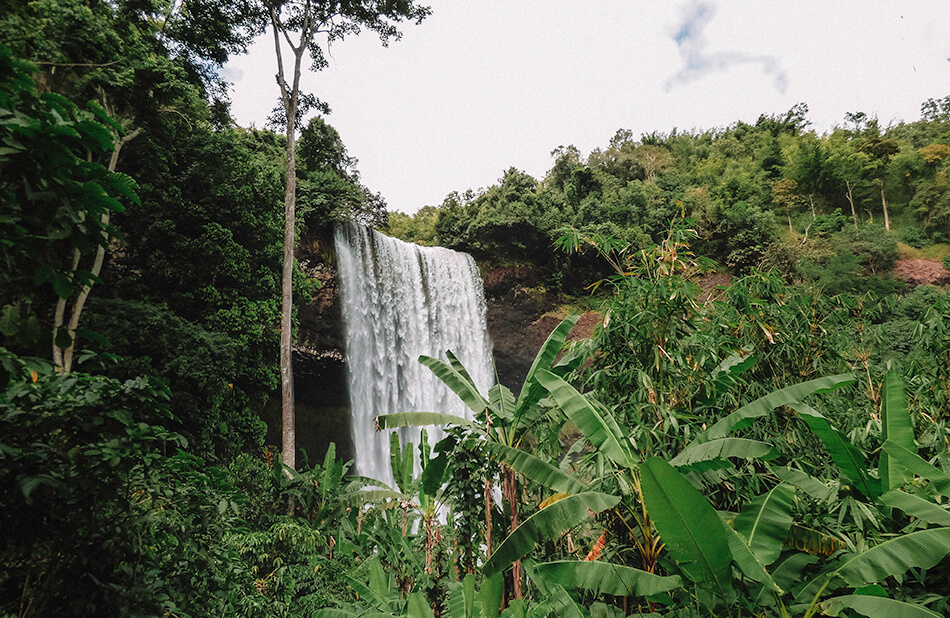 After driving for ours on a dirt road in the scorching sun we finally arrived to the lush sceneray of Tad Tayicseua, hidden along the Bolaven Plateau big loop