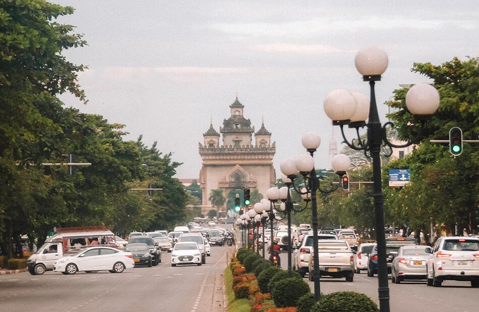 Patuxai, or the Laotian Arch of Triumph, in Vientiane