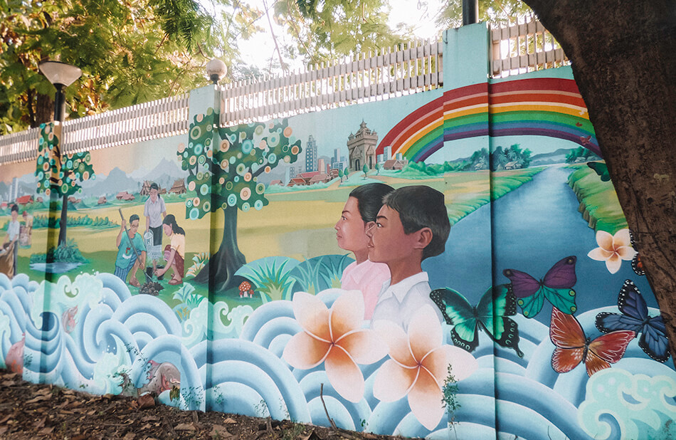 Streetart in the colourful streets of Vientiane, Laos