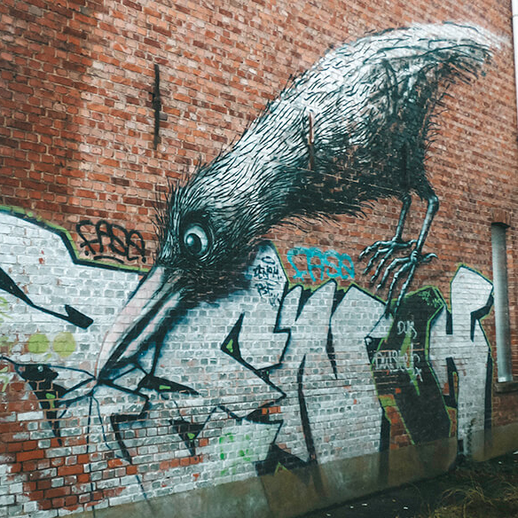 One of the more famous murals of the Doel street art