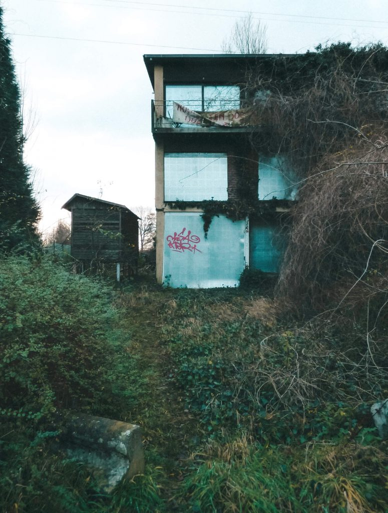 Abandoned homes turned into ruins