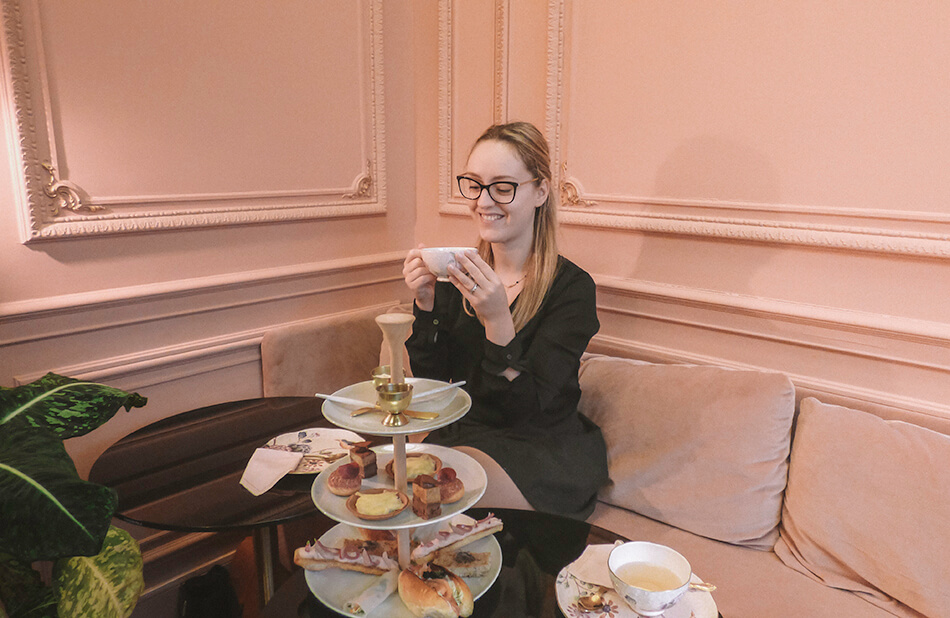 Having tea in the Millenium Pink room of Cuisinette Domestic