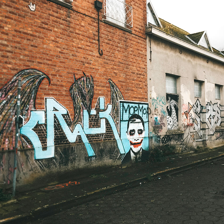 Even Barack Obama is honored in Doel, though as the Joker