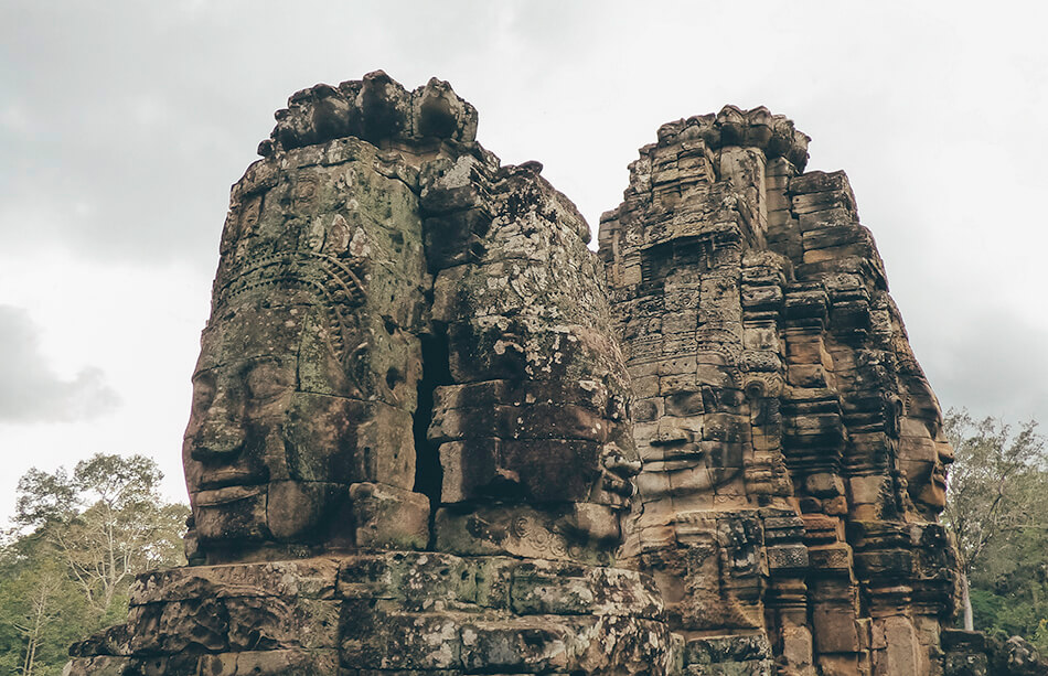 Some of the more than 200 faces gracing the temple of Bayon in Angkor