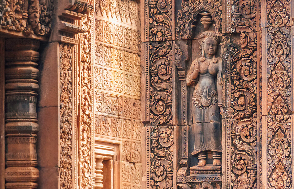 Red hues at Banteay Srei temple in Cambodia