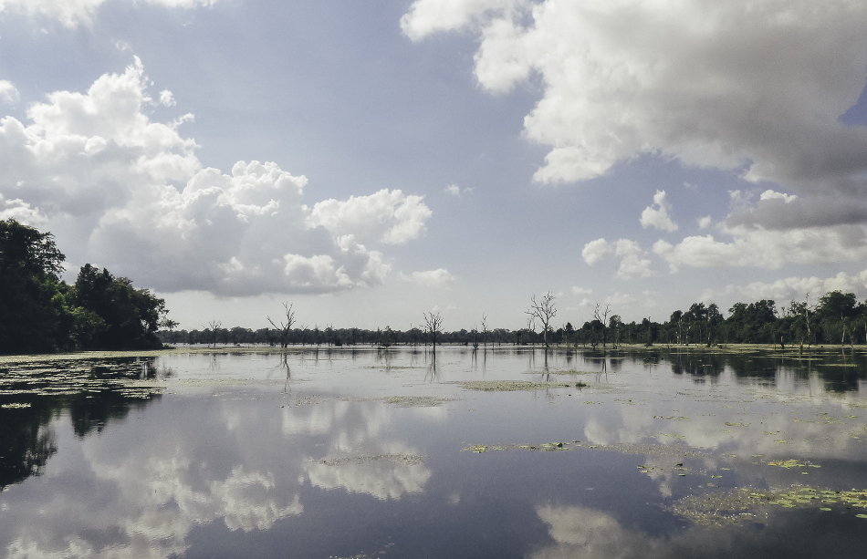 Beautiful lake in the Angkor Wat archeological park, Cambodia
