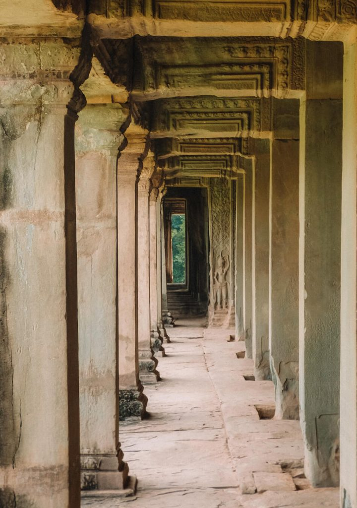 Inside Angkor Wat are endless galleries and delicately crafted fresco's along the inner walls
