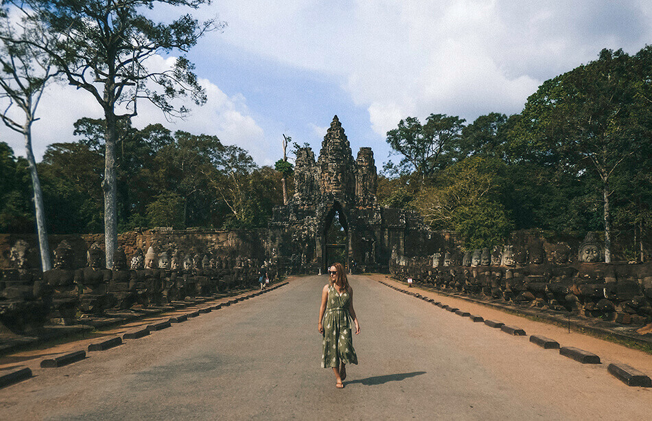 A photographer's favourite spot at the gates of Bayon in Angkor, Cambodia