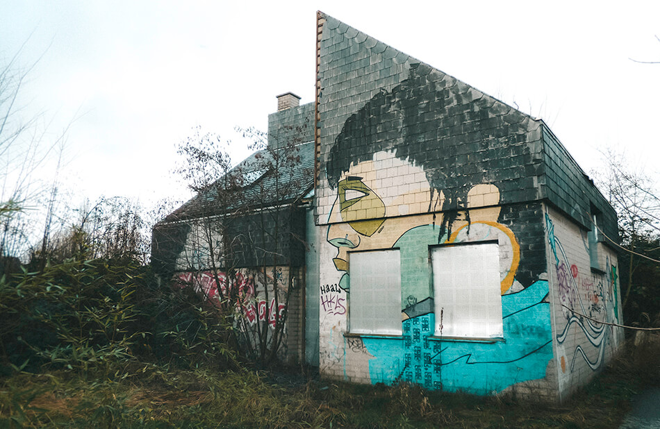 The walls of abandoned homes are used as canvases by different artists