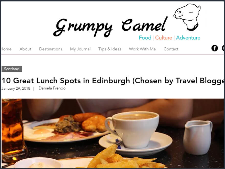 Best Lunch Spot in Edinburgh - guest post for the Grumpy Camel