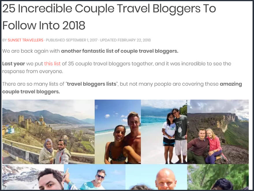 best travel bloggers 2018 by Sunset Travellers