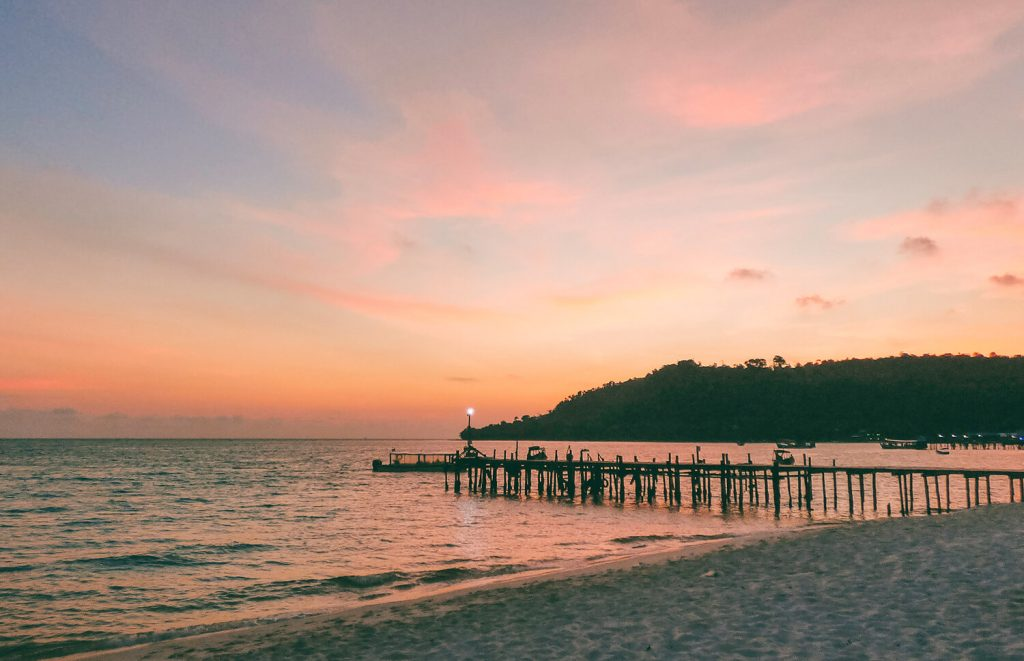 Pink sunset at the Sok San Beach resort in Koh Rong, Cambodia