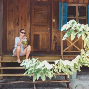 Sipping coconut on Koh Rong, Cambodia