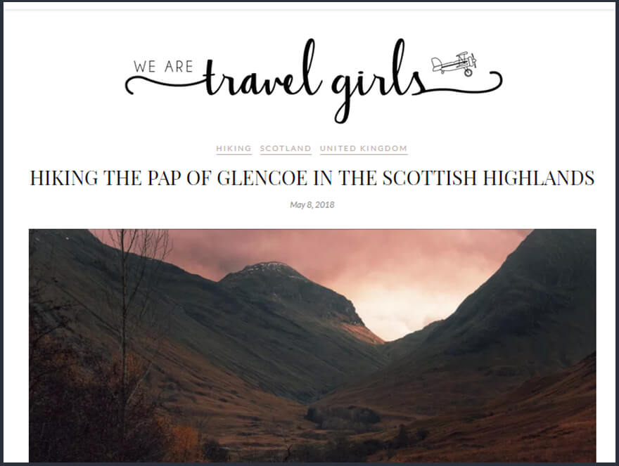 Guest Post for We Are Travel Girls about hiking the Pap of Glencoe in Scotland