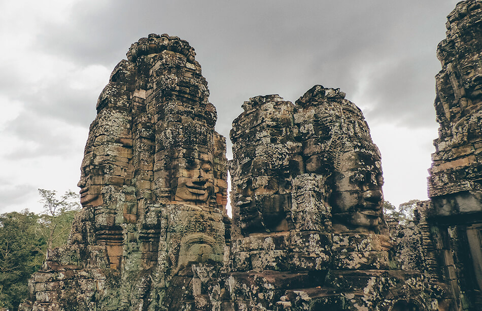 The staring faces of the Bayon at Angkor Wat in Cambodia