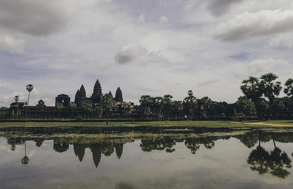 Enjoying purple hour at Angkor Wat temples in Cambodia