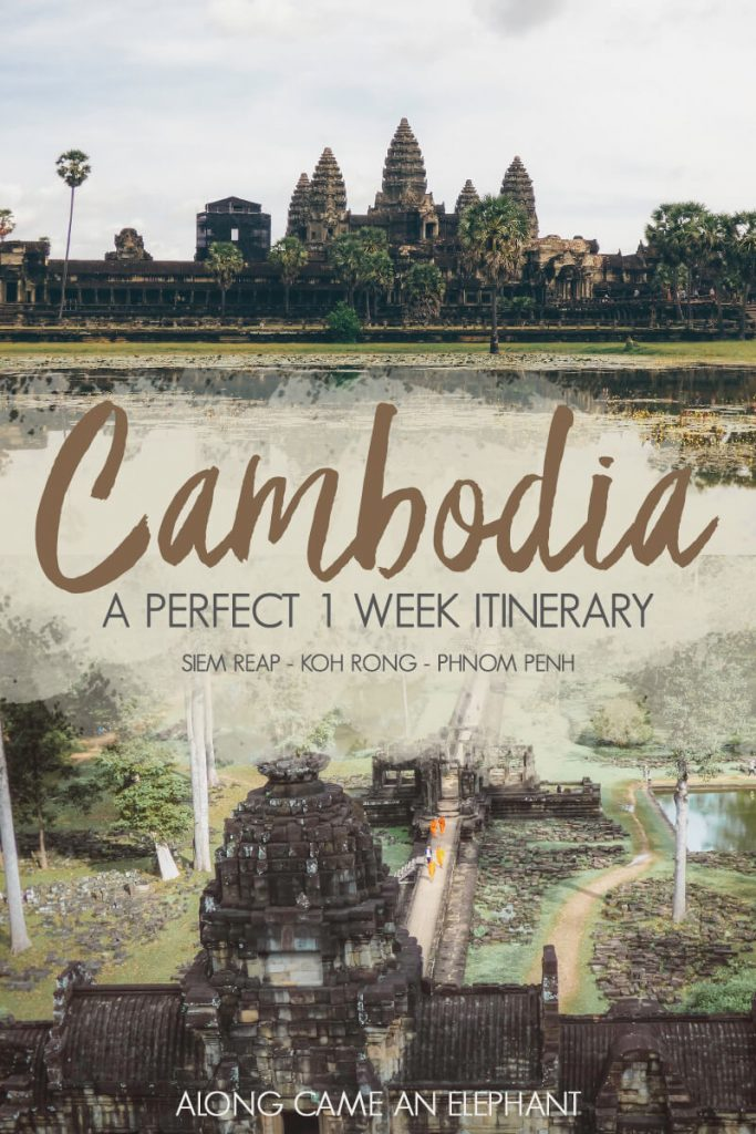 Thinking of traveling to the beautiful Cambodia? Then here's the perfect one week Cambodia itinerary for you! This itinerary includes stops in world famous Angkor Wat, capital Phnom Penh and the exotic island of Koh Rong. #cambodia #visitcambia #angkorwat #kohrong #phnompenh #cambodiaitinerary