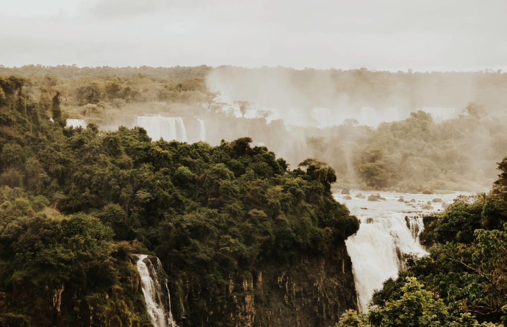 Spectacular view over the Iguaçu Falls from the Brazilian side during our 3 week Brazil itinerary