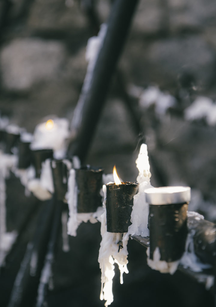 Candles buring at the top of Cerro San Cristóbal