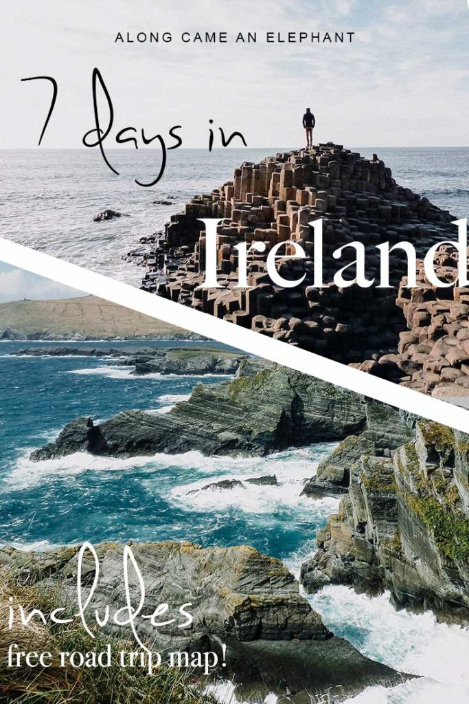 The perfect Ireland road trip itinerary and travel tips for your first trip to Ireland! This Ireland one week itinerary will take you along Ireland's best destinations like the Cliffs Of Moher, Dingle Peninsula, Ring of Kerry, the Wild Atlantic Way, Northern Ireland and more!